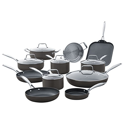 Amazon Brand – Stone & Beam Kitchen Cookware Set, 17-Piece, Pots and Pans, Hard-Anodized Non-Stick Aluminum