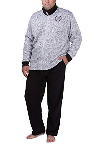 SLOUCHER Fleece Anzug Hausanzug für Herren in Übergröße, Größe:XXL, Farbe:grau-Melange