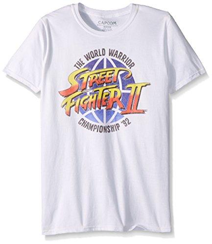 American Classics Unisex Street Fighter World Warrior Adult Short Sleeve T-Shirt, White, Medium