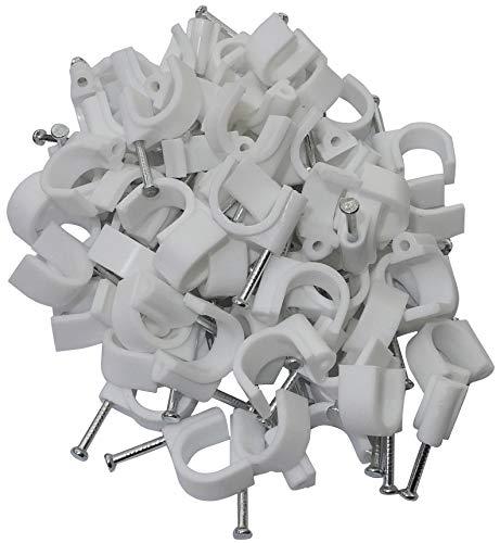Aerzetix: 100 x Kabelklemme 12 mm Befestigungs mit Nagel Kabelschellen