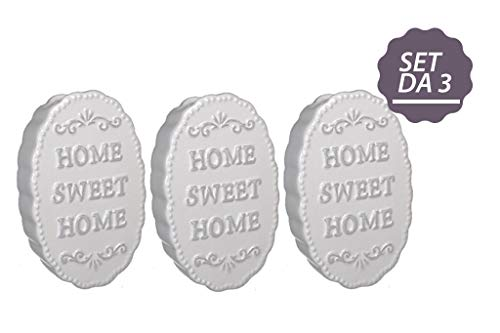 GIRM ME33040 Set 3 Umidificatore termosifoni evaporatore'Home' in Ceramica cm10,5x3,5x16 Bianco