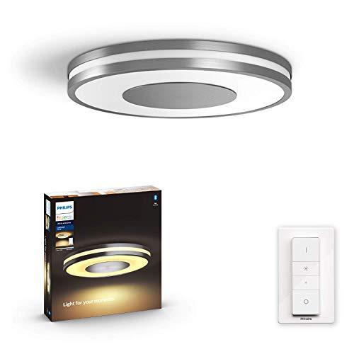 Philips Hue White Amb. LED-Deckenleuchte Being inkl. Dimmschalter, aluminium, dimmbar, alle Weißschattierungen, steuerbar via App, kompatibel mit Amazon Alexa (Echo, Echo Dot)