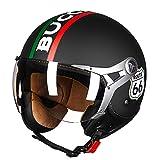 LALEO Personalizado Personalidad F1 Vintage Harley Cascos Moto Half-Helmet, Transpirable y Cálido Estilo Deportivo Hombres Mujeres Niño Adulto Casco Scooter Casco Jet M-XL,Blackb,L