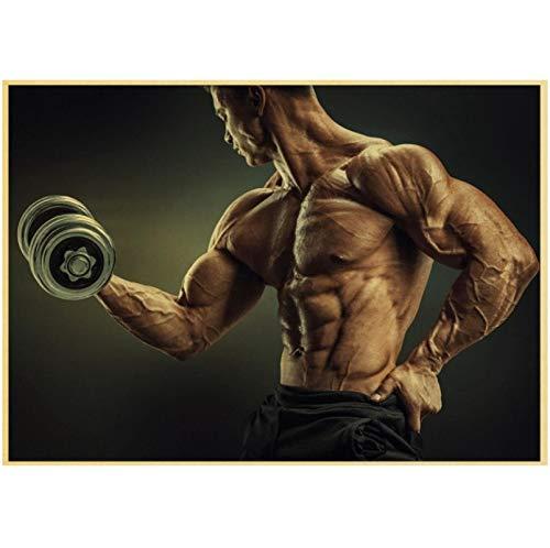 Liuheng HD Bodybuilding Gym Workout Poster Rahmenlose Leinwandmalerei Wohnzimmer Schlafzimmer nach Hause Gym Bar Dekoration Wandkunst Wandbild 50x70cm (19,68x27,55 in)