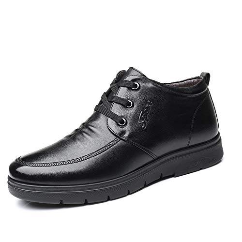 Tanxinxing Botas de trabajo para hombre, de moda, casuales, cómodas, de forro polar suave, en el interior, punta redonda, color negro, talla: 40 EU)