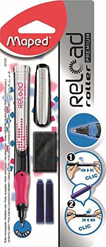 Maped - Roller à Encre à Cartouche Reload Premium - Stylo Rechargeable - Rechargeable en un clic - Design Ergonomique - Belle Écriture - Stylo à Encre - Coloris Aléatoire