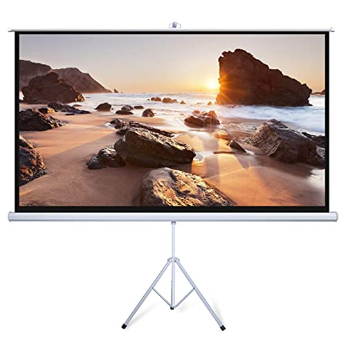 Powerextra Projector Screen with Stand: 100 inch 16:9 4K HD, Indoor Outdoor 3 Layers PVC Pull Up...