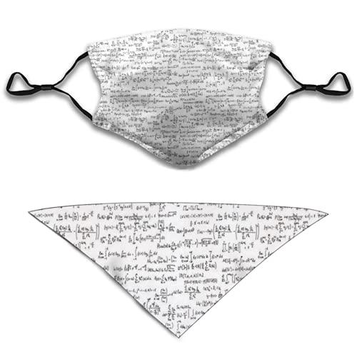 Liliylove 2 máscaras de tela facial y pañuelo triangular para perro, notas matemáticas pequeñas, baberos lavables y pasamontañas transpirables para hombres y mujeres