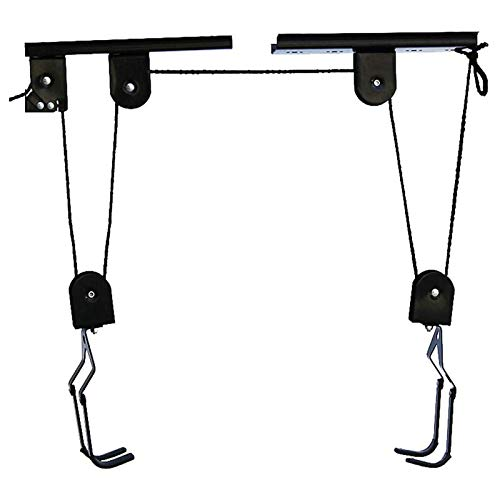 Bike Hoist Bicycle Lift for Garage Ceiling Storage,Heavy Duty Bicycle Hanging Racks,ladder hoist,Bike Storage with 3 Pulley and 45 ft Adjustable Rope 100 lb Capacity