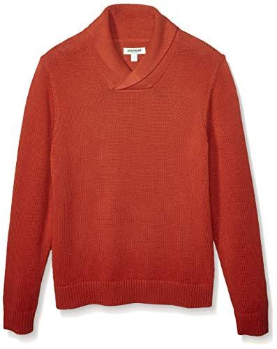 Amazon Brand - Goodthreads Men's Soft Cotton Shawl Sweater, Rust Large