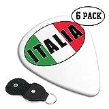 Púas de guitarra Italia Italia Bandera italiana Plectrums Paquete de 6 Accesorios de bajo de guitarra de celuloide para guitarra, mandolina y bajo 0.71 mm