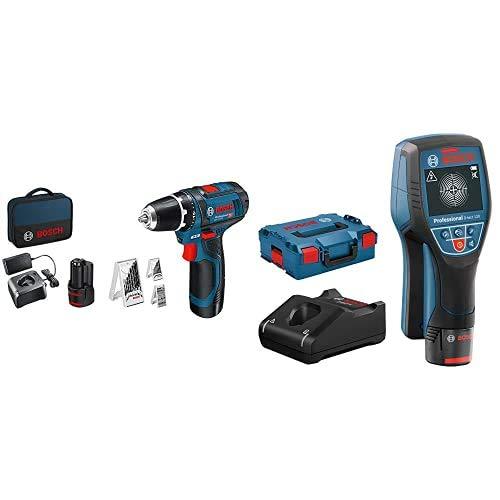 Bosch Professional System Atornillador GSR 12V-15,incl. 2x2.0 batería + cargador,39 pcs juego de accesorios + Sistema 12V Detector de pared D-tect 120, 1 batería 12V + cargador, profundidad máx 120 mm