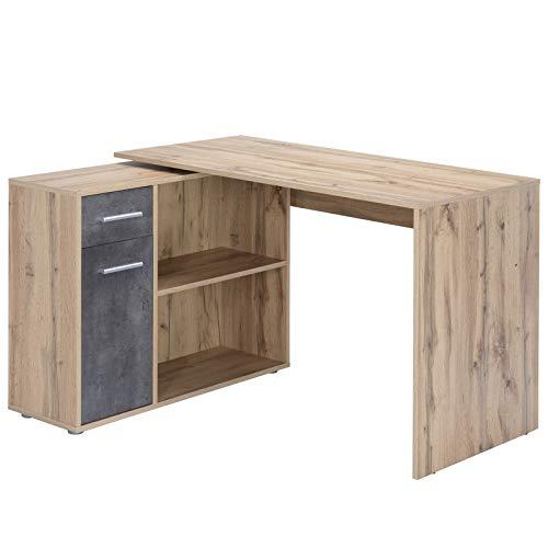 Bureau d'angle Isotta Table avec Meuble de Rangement intégré et modulable avec 2 étagères 1 Porte et 1 tiroir, en mélaminé décor chêne Sauvage et béton foncé