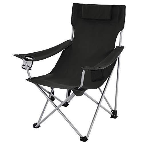 SONGMICS Campingstuhl, Klappstuhl, Outdoor-Stuhl mit Armlehnen, Kopfstütze und Getränkehaltern, stabiles Gestell, bis 150 kg belastbar, schwarz GCB09BK
