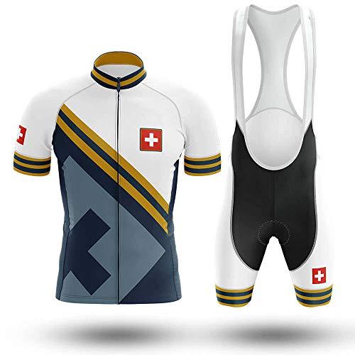 Maillot De Ciclismo Conjunto Para Hombre,Azul Blanco Bandera Suiza Mtb Ropa De...