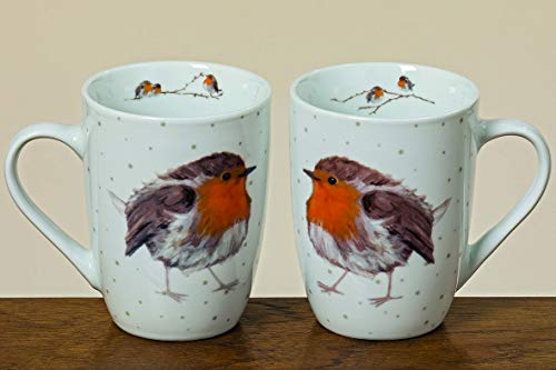 Home Collection 2er Set Porzellan Becher Henkelbecher Tasse H11cm D8cm 330ml Vogel Rotkelchen Sortiert
