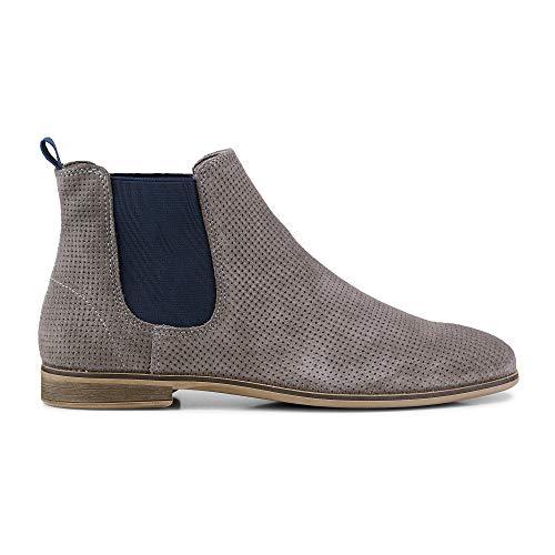 DRIEVHOLT Damen Chelsea-Boots aus Leder, Kurzschaft-Stiefeletten in Grau mit dezenter Loch-Prägung Grau Rauleder 41