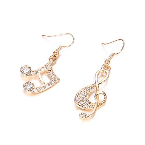 H87yC4ra Pendientes Colgantes Con Gancho De Diamantes De Imitación Para Mujer, Pendientes Colgantes De Gota De Clave De Sol De Música De Moda Para Niñas Dorado