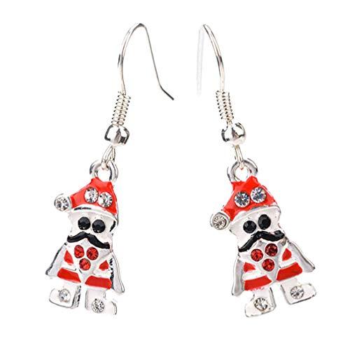 Holibanna Rhinstone Santa Claus Dangle Earrings Christmas Hook Earrings Fashion Ear Drop for Women Christmas Costume Jewelry Gift Party