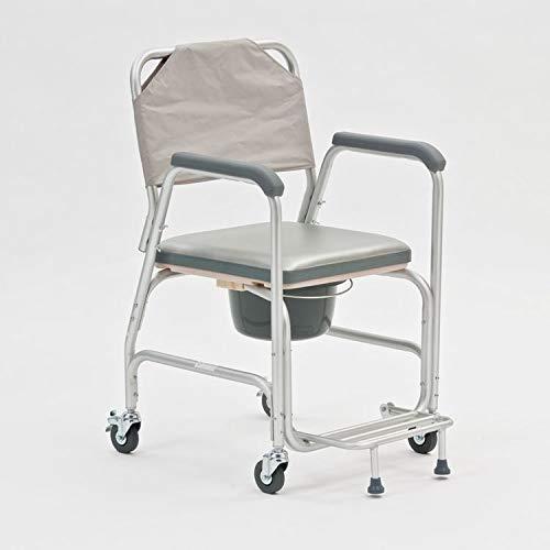 Asiento de inodoro multifuncional con ruedas para el inodoro de mujeres embarazadas de edad avanzada que puede bañarse para facilitar el empuje de la silla del inodoro fuera de la silla de ruedas