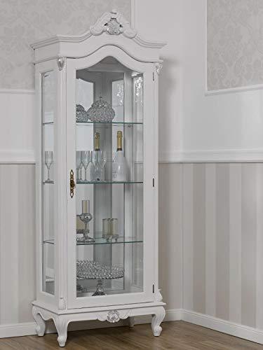 SIMONE GUARRACINO LUXURY DESIGN Vitrine Chantal Moderner Barock Stil 1 Tür weiß lackiert und Blattsilber