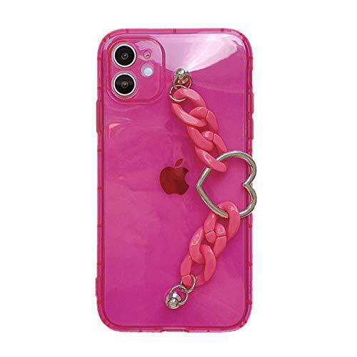 LIUYAWEI Estuche para teléfono con Pulsera de Color Caramelo para iPhone11 Pro MAX, CarcasaTrasera deTPU Suave Fluorescentepara iPhone7 8 X XR XS MAX, Rosa roja, paraiPhone XSM
