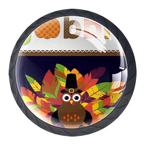 Tirador de manijas de cajón Perillas decorativas del gabinete del cajón Manija del cajón del tocador 4 piezas,engullir calabaza pavo feliz hojas de otoño