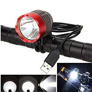 ZJchao Frontal Faro Faros Delantero luz Bici Bicicleta Ciclismo 1200 lúmenes Linterna XML T6 LED Impermeable USB Power para Manillar de Bicicletas (Rojo)