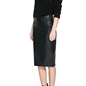 LJYH Women's Desinger Faux Leather High Waisted Work Pencil Midi Skirts Black 8