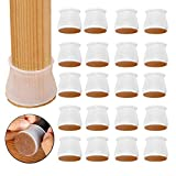 Silicone Chair Leg Floor Protectors 24 PCS,Silicone Furniture Protection Cover with Cotton Pad,Elastic Silicone Chair Leg Cups Silicone Floor Protectors Anti-Slip Chair Floor Pads for Round or Square