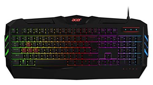 Acer Nitro Gaming Keyboard (QWERTZ-Tastatur, widerstandsfähige Tastenkappen, sechs Helligkeitsstufen, zwei Modi, geflochtenes Kabel, Mediatasten) schwarz