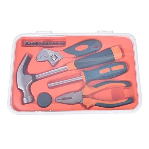 Les-Theresa Juego de herramientas para el hogar de 18 piezas Juego de herramientas de reparación de combinación multifunción de acero CR V