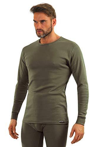 Sesto Senso® Herren Langarm Unterhemd Grün Baumwolle Funktionsunterhemd mit Rundhalsausschnitt Funktionsshirt Thermo Unterwäsche Winter (XL, Grün - Khaki)