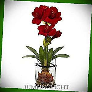 """JumpingLight 24"""" Amaryllis with Vase Artificial Flowers Wedding Party Centerpieces Arrangements Bouquets Supplies"""