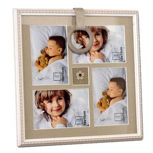 EMDE Cadre pèle Mele Blanc Frise Gris pour 4 Photos 10x15