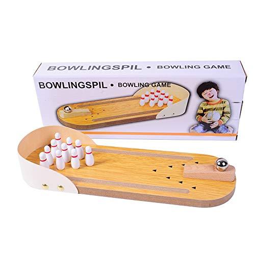 InChengGouFouX Lernspielzeug Bowling Mini-Holz-Tisch-Bowling-Spiel Mini-Tisch Bowling Spielzeug Klassisches Schreibtisch-Kugel for Kinder Und Erwachsene Eltern-Kind-Spielzeug