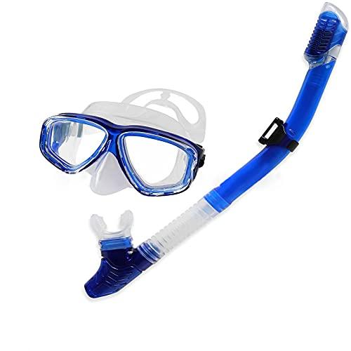 LLC Traje de Snorkel de Cristal Templado panorámico, máscara de Gran Angular sin Marco Adecuada para Buceo Libre, Traje de Snorkel Ajustable Conveniente,Azul