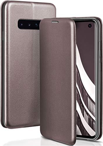 ONEFLOW Handyhülle kompatibel mit Samsung Galaxy S10 - Hülle klappbar, Handytasche mit Kartenfach, Flip Hülle Call Funktion, Klapphülle in Leder Optik, Taupe