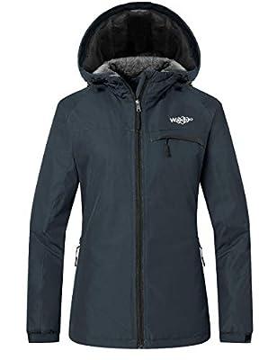Wantdo Women's Mountain Ski Jacket Windproof Fleece Snow Coat Rainwear Waterproof Hooded Warm Parka