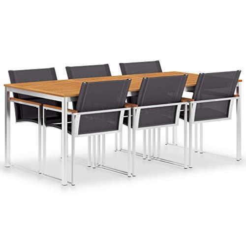 pedkit 7-TLG. Essgruppe Gartenmöbel Wetter- und rostbeständig Gartengarnitur Esszimmergarnitur Sitzgruppe Küchentisch Textilene und Edelstahl mit1Tisch und 6 Stühle