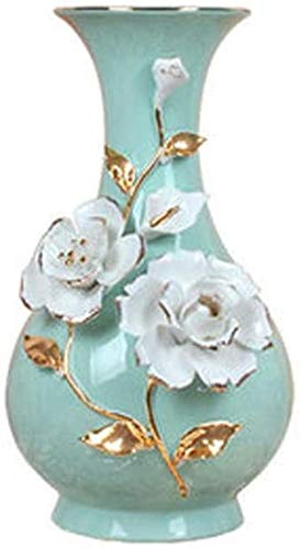 Vase Grave Ceramic Handmade Crafts Three-dimensional Flower Drawing Gold Edge Pattern Can Be Placed In The Table TV Cabinet Jewelry for flowers (Color : Blue, Size : 16 * 17 * 30cm)