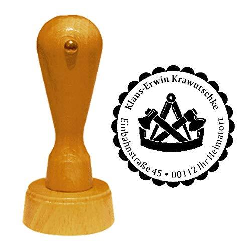 Stempel Adressstempel « ZIMMERMANN » Durchmesser ca. Ø 40 mm - mit persönlicher Adresse, Motiv und Zierrand - Beruf Zimmerer Zunft Zunftzeichen