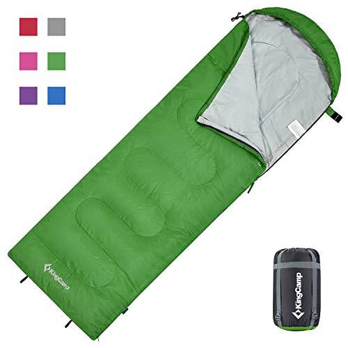 KingCamp Oasis Deckenschlafsäcke mit Kopfteil für Erwachsenen Leichtgewicht 3 Jahreszeiten, Grün, 220 × 75 cm