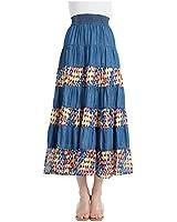 Tronjori Womens Tencel Denim Long Midi Skirt Tired Multi Layers Fancy Geometric Print Patchwork (XXL,Blue)