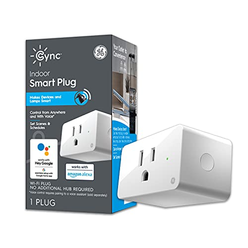 GE Lighting Cync On/Off Smart Plug with Built-in Wi-Fi Bridge, Bluetooth and Wi-Fi, Alexa + Google Home Compatible, 1-Pack