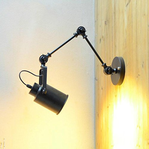 Avanthika E27 Wall Sconces Mounted Wall Lamps Swing Arm Wall Lights Industrial Air Antique Bedside Wall Lights Double Section Retractable Wall Lights Iron-Light