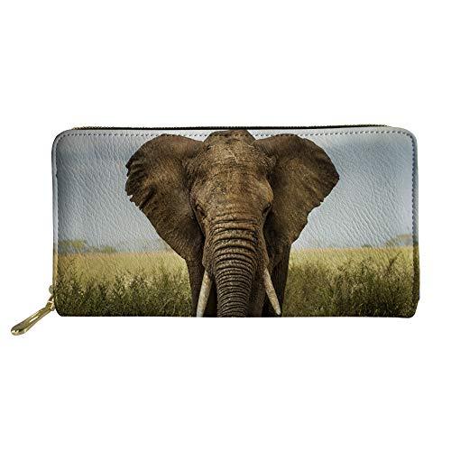 Showudesigns Elefant Lange Geldbörse Clutch Tasche PU Leder Geldbörse Handtasche für Frauen Universität Mädchen