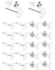 AIEX 300 st/set örhängen stolpar rostfritt stål allergivänliga platta örhängen dubbar med fjäril och gummi örhänge bakstycke för gör-det-själv-örhängen att göra fynd