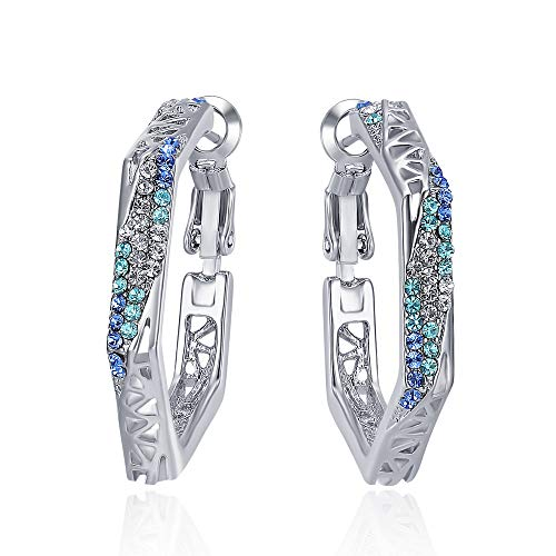 Viennois Hoop Earrings for Women Girls with Cubic Zirconia (Silver with Rhinestone,3.0)