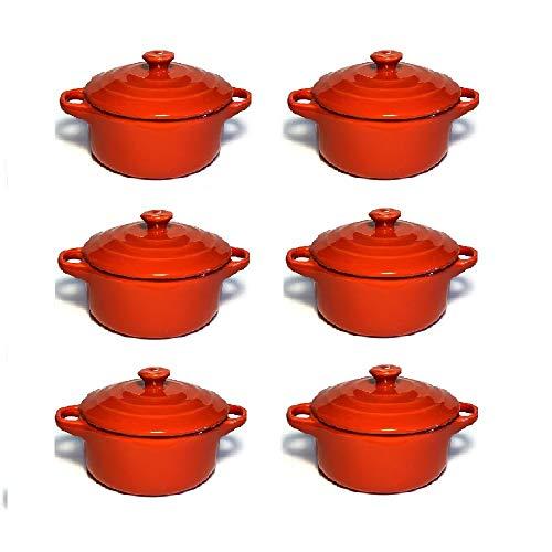 Hobby Tech Lot de 6 Mini Cocottes Rouges Céramique Double Poignées avec Couvercle 13,5cm x 8cm Contenance Moule 200ml Ramequin Résistant Haute Température Four pour Petits Plats (Rouge, Lot de 6)